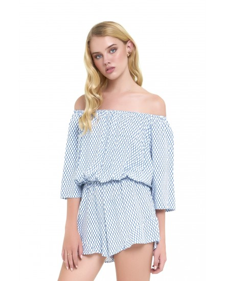 MINDY ROMPER IN HONEYCOMB BLUE