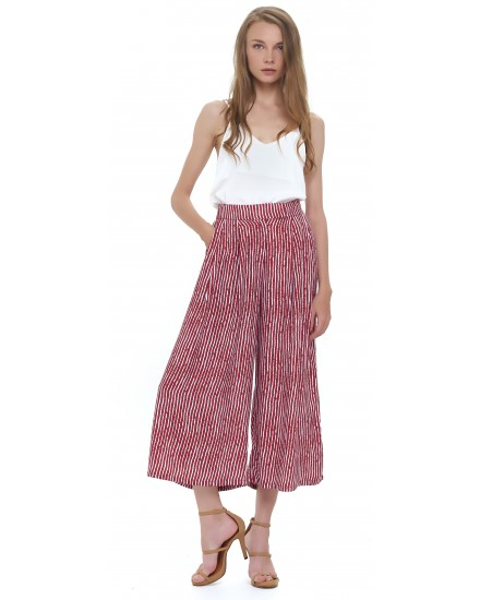 KASBAH CULOTTES IN TOBSIL STRIPES MAROON WHITE