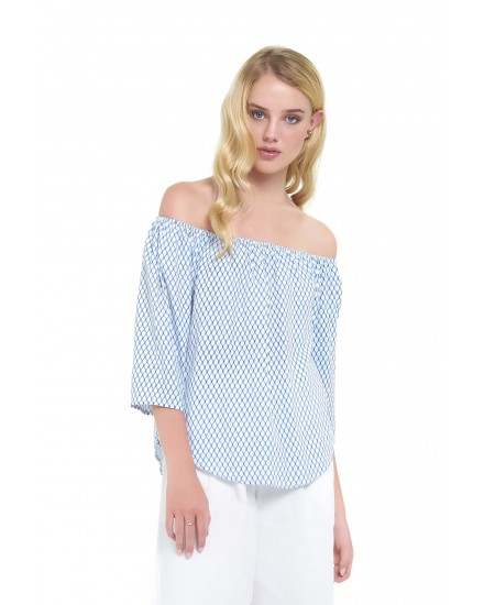 PRIMROSE TOP IN HONEYCOMB BLUE