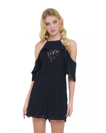 ISADORA ROMPER IN LACE BLACK