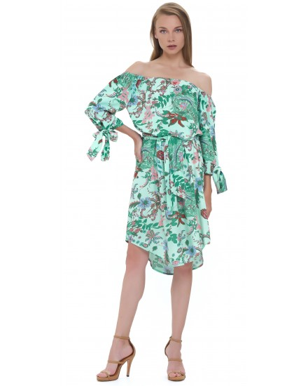 GUELIZ DRESS IN JARDIN FLORAL GREEN