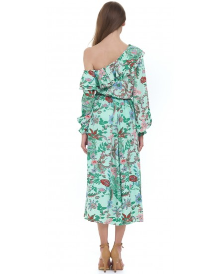 MAMOUNIA DRESS IN JARDIN FLORAL GREEN
