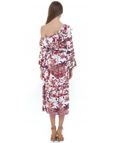 MAMOUNIA DRESS IN JARDIN FLORAL MAROON