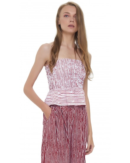 DAR CROP TOP IN TOBSIL STRIPES WHITE MAROON