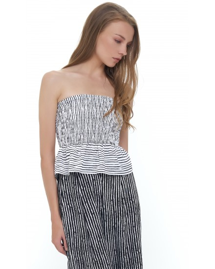 DAR CROP TOP IN TOBSIL STRIPES WHITE BLACK