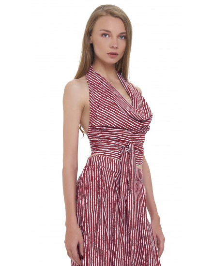 AMAL TOP IN TOBSIL STRIPES MAROON WHITE