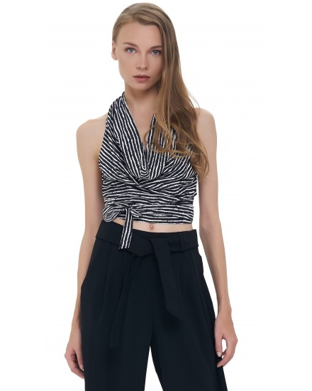 AMAL TOP IN TOBSIL STRIPES BLACK / WHITE