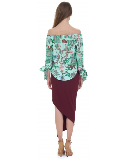 SAFFRON TOP IN JARDIN FLORAL GREEN