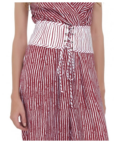 RUE CORSET IN WHITE/MAROON