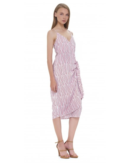 SAID DRESS IN TOBSIL STRIPES WHITE MAROON