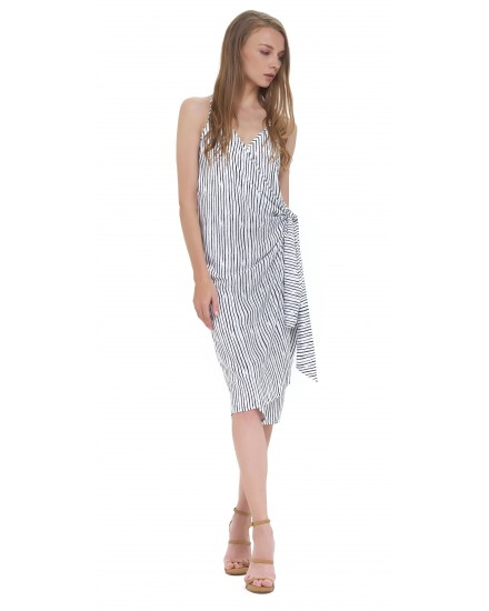 SAID DRESS IN TOBSIL STRIPES WHITE BLACK