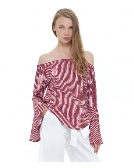 SALAMA TOP IN TOBSIL STRIPES MAROON WHITE