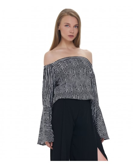 SALAMA TOP IN TOBSIL STRIPES BLACK WHITE