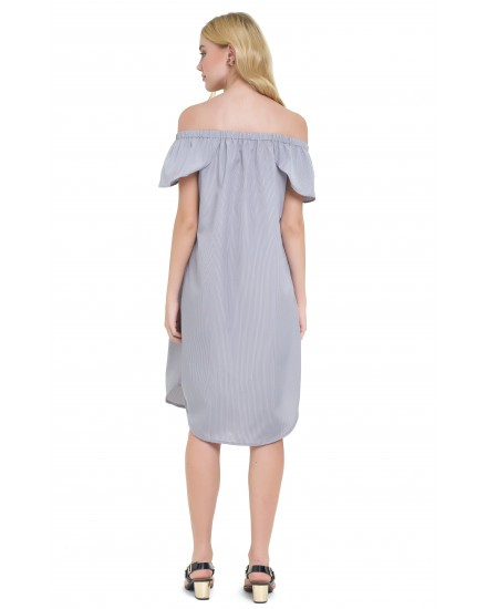 ALICE DRESS IN GRAY/NAVY PINSTRIPES