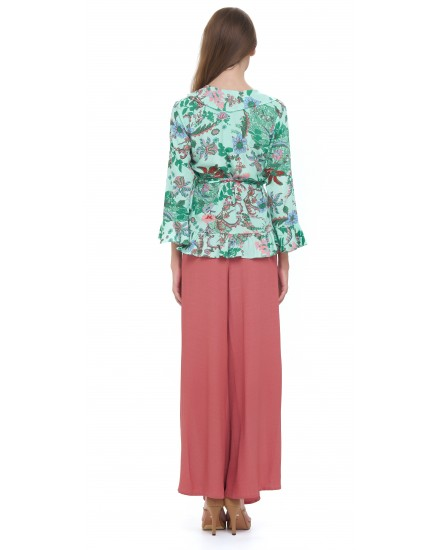 MENARA TOP IN JARDIN FLORAL GREEN