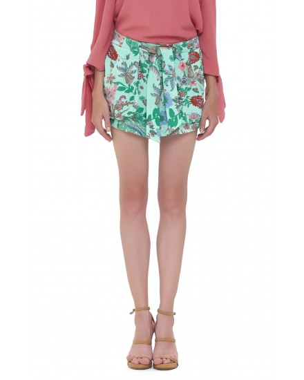 HENANE SHORTS IN JARDIN FLORAL GREEN