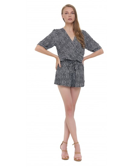 FARAH ROMPER IN TOBSIL STRIPES BLACK / WHITE