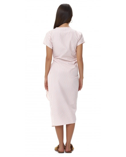 ELENA DRESS IN STRIPES PEACH