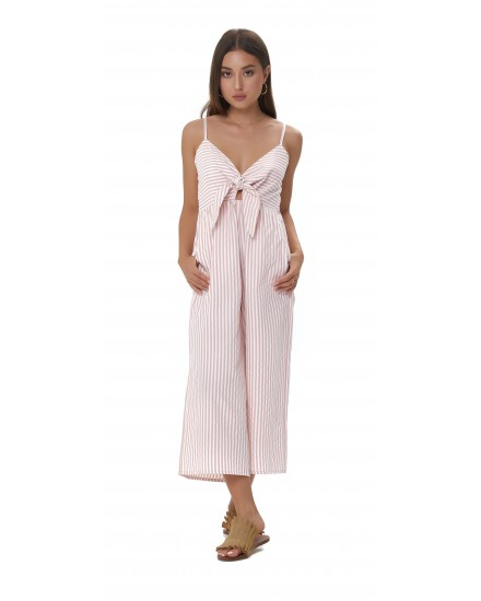 GIA JUMPSUIT IN STRIPES PEACH