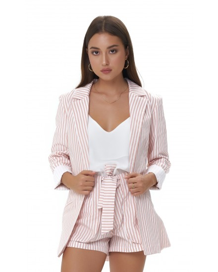 MARGOT JACKET IN STRIPES PEACH