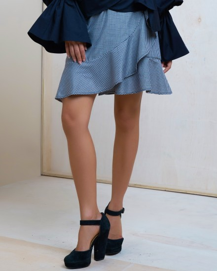 VALERIE SKIRT IN GINGHAM BLACK