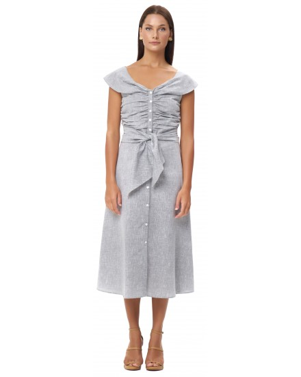 RHEA DRESS IN LINEN GREY