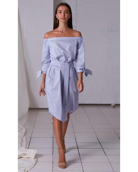 STELLA DRESS IN BLUE STRIPES