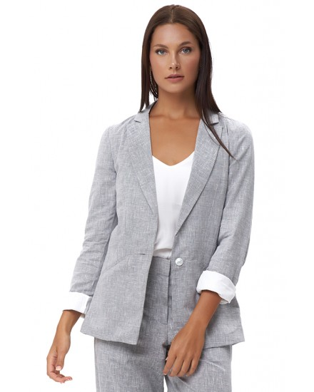 GAIA JACKET IN LINEN GREY