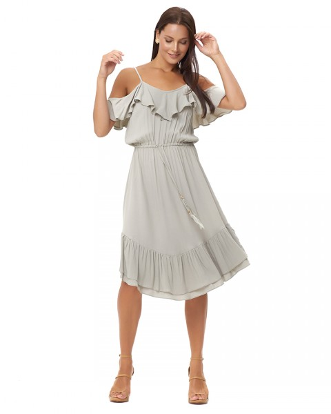 VASILIA DRESS IN DUSTY GREY