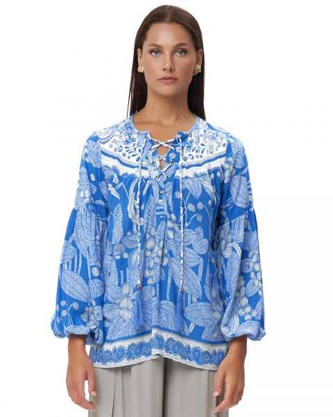 DIMITRIA TOP IN OIA COBALT BLUE