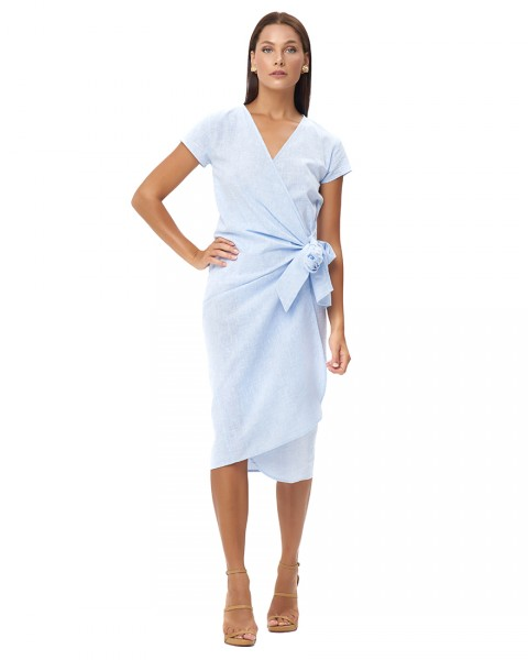 OBELIA DRESS IN LINEN BLUE