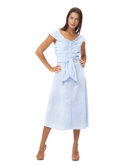 RHEA DRESS IN LINEN BLUE