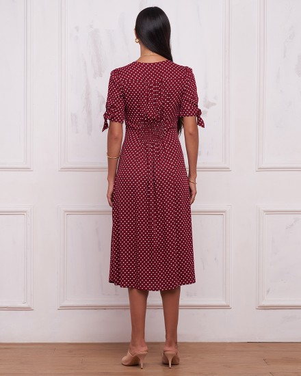SIENA DRESS IN POLKADOT MAROON
