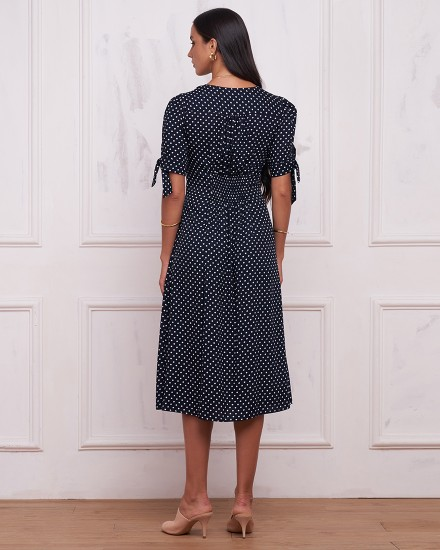 SIENA DRESS IN POLKADOT NAVY/BLACK