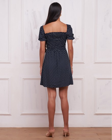 JUNE DRESS IN POLKADOT NAVY/BLACK