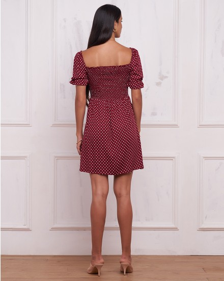 JUNE DRESS IN POLKADOT MAROON