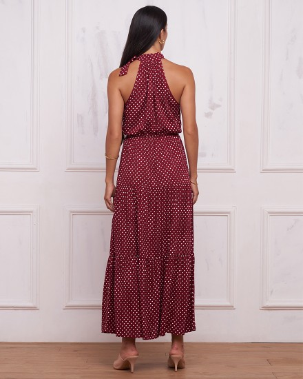 ELYSE DRESS IN POLKADOT MAROON