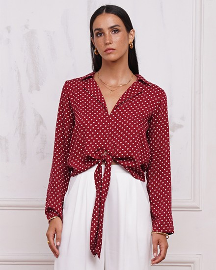 MYRA TOP IN POLKADOT MAROON