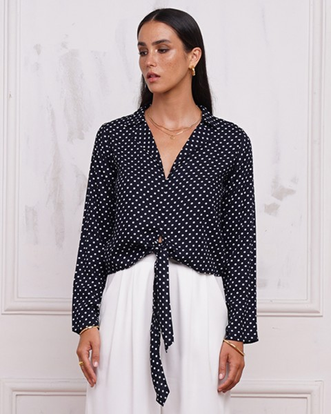MYRA TOP IN POLKADOT NAVY/BLACK