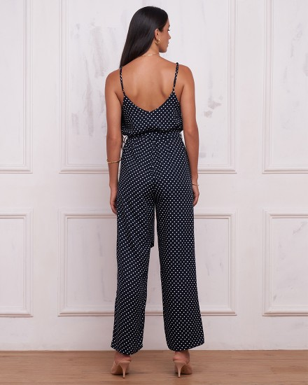 HARLOW JUMPSUIT IN POLKADOT NAVY/BLACK