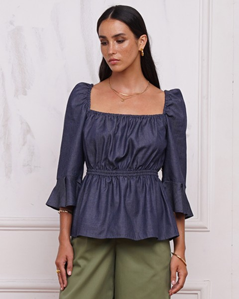 ESME TOP IN DENIM BLUE