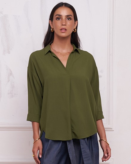 REINA TOP IN OLIVE