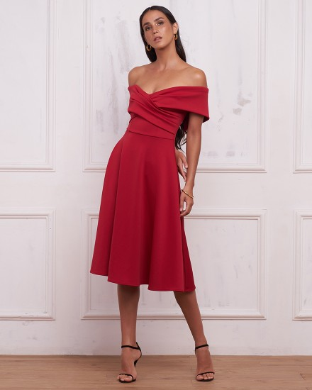 REBECCA DRESS IN MAROON