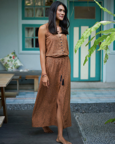 HIRA DRESS IN TERRACOTTA DOT