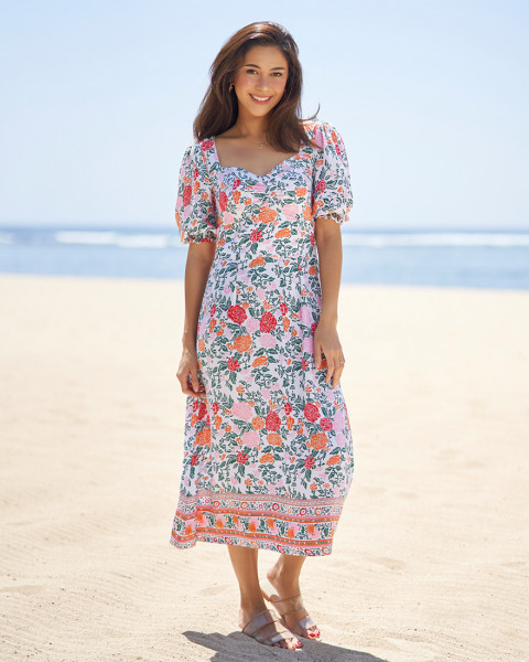 SEVIL DRESS IN FLORAL ROSE MANDARIN