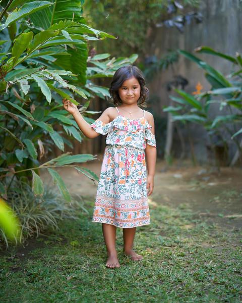CAISRA DRESS IN FLORAL MANDARIN ROSE