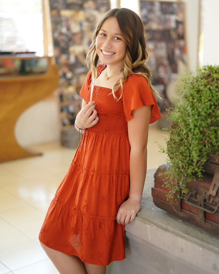 LOLA DRESS IN TERRACOTTA