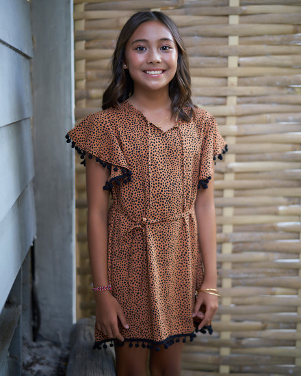 SURI DRESS IN TERACOTTA DOT