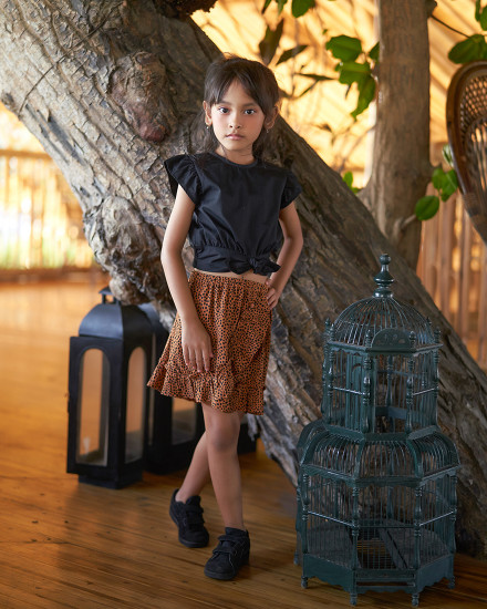 MIA SKIRT IN TERRACOTTA DOT