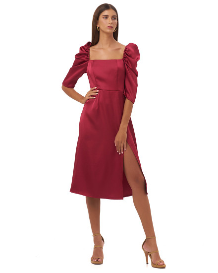 AGNELLA DRESS IN MAROON